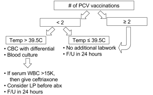 Workup relative to number of pneumococcal conjugate vaccines